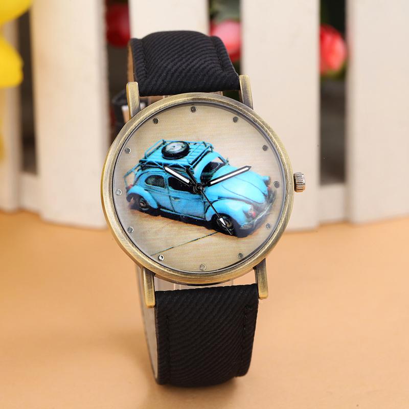 New Fashion Cartoon Car Quartz Watch Women And Men Wristwatch Denim Fabric Strap Dress Watch Relogio Hours Analog Sports Watch(China (Mainland))