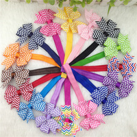 3inch ribbon chevron hair bows with elastic baby headband for girls hairband for chirldren hair accessories 32pcs/lot