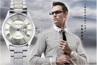 20pcs lot NEW Waterproof Japanese Movement Men Watch Luxury Metal watch Man Fashion Silver Watch Calendar wristwatch wholesale