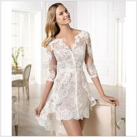 Vintage Sweetheart Open Back Lace Tea Length Wedding Dresses 2014 v