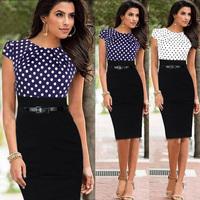 Plus Size S-XXL Hot Selling 2014 New European Fashion Summer Women Elegant Dot Celebrity Bodycon Party Evening Dresses With Belt