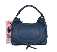 Top quality original brand marcie saddle real calf leather blue women handbag shoulder bag fashion gift free shipping wholesale