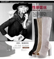 women High heel fashion new short boots female platform ankle boots in winter Europe waterproof suede single shoes boots