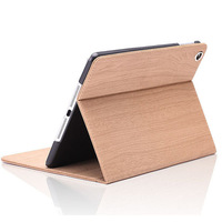 Fashion Design Wooden Pattern Case For Apple iPad 6 With Stand Sleep Tablet PC Cases Leather Cover+screen guard For iPad Air 2