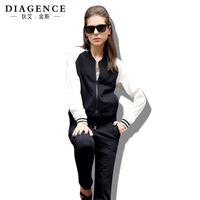 Diagence autumn sweatshirt set plus size fashion 100% cotton long-sleeve casual sports set female