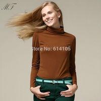 2014 Women Autumn New Fashion Tops Korean Style Slim Turtleneck  Long Sleeve Fleece Tshirts Women Blouses Shirts Lady
