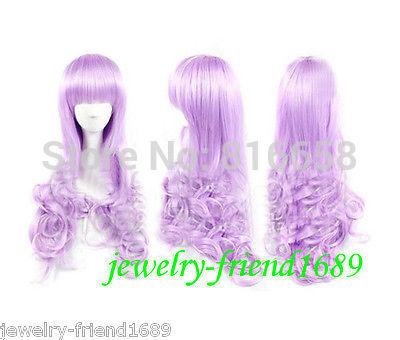 Free shipping@@Cosplay New Long wig Lavender Purple Neat Bang Curly Wig(China (Mainland))