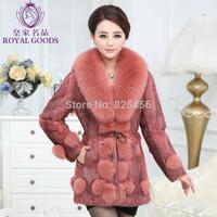 Hot selling 2014 new rabbit fur coat medium - long slim fox fur collars coat Free shipping