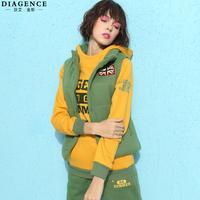 Diagence 2014 autumn and winter vest sweatshirt trousers letter plus velvet thickening piece set casual set