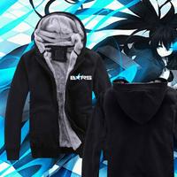 High Quality Wool Liner Anime Coat BLACK ROCK SHOOTER Winter Thicken Sweatshirt Jacket Hoodie Coat Unisex Coat