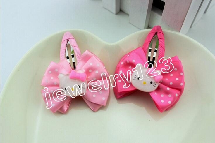 2 colors BB Clip Sweet Hello Kitty Hair bands ( girls hair accessories, kids Hair wear) 50pcs/lot Free Shipping HD3330(China (Mainland))
