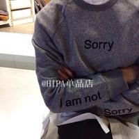 Harajuku hipa lovers cotton plus velvet letter sorry print sweatshirt  winter o-neck basic sweatshirt pullover hooded outerwear