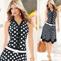 2014 New European Fashion Summer Women Elegant Dot Sleeveless Belt Casual Celebrity Bodycon Party Evening Dresses Plus Size