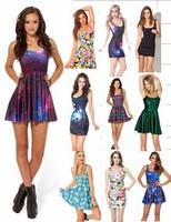 Fashion New 2014 Girls Summer Adventure Time Skater Dress Sexy Women Black Milk Galaxy Print Dresses Novelty Vestidos