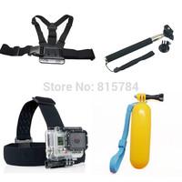 free shippingGopro Monopod Tripod Mount Adapter + Float Bobber Handheld Stick + Chest Belt + Head Strap For ALL Gopro Hero SJ400