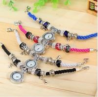10 pcs lot Charm Bracelet Watch women Rhinestone PU leather casual dress wristwatch NEW Fashion Paris wholesale