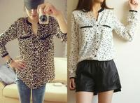 New Vintage Lady Chiffon Blouse Roupas Femininas Long Sleeve Top Casual Shirt Blusas Loose V-neck Leopard Star Printed Blouse