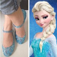 Wholesale 72pcs/Lot Girls Frozen Elsa Shoes 2015 Frozen Shoes Blue Girls Flats Sandals Kids Children Shoes Princess Girls Shoes