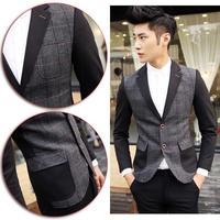 2014 Autumn New Casual Celebrity Gentleman Business Party Suits Jackets Patchwork Men's Groomsmen Wedding Blazer Coat