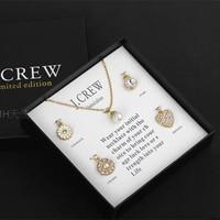 Sunshine jewelry store fashion Gold Tone Jewel Crew Crystal heart ,flower , pearl jewelry set