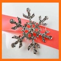 FREE SHIPPING ! 100pcs/lot snowflake rhinestone brooch pin for Christmas party