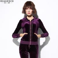Fashion pleuche diagence women's long-sleeve slim casual long-sleeve sports set