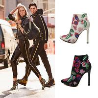 Fashion street hot-selling multicolour print back zipper velvet ultra thin heels high heels boots ankle boots jjm266-1