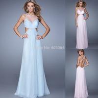 Sexy Open Back Pearls Chiffon Floor Length Evening Dress Long Prom Dress 2015 New Vestido Longo