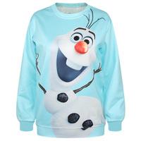 2015 Women Hoodies 3D Character Crewneck Sweatshirts Frozen Snowman Printed Sportswear Long Sleeve Pullover Blue Sudaderas