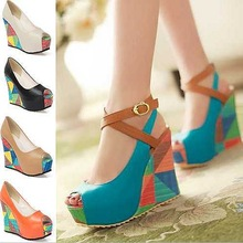 2015 Women Pumps Fashion New Bohemia Colorful Wedges Summer Wedding Shoes High Heels Peep toe Ladies Women's Platform Pumps(China (Mainland))