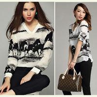 2015 Summer Spring Vintage Plus Size Women's Shirt Horse Print Chiffon Blouse V Collar White Tops Women Long Sleeve Casual  z205