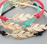 2.2*1.1cm Feather Charm Handmadke Bracelet Lovers hand catenary
