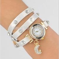10pcs lot Wrap Bracelet Watch women Charm Moon Rhinestone Strip PU leather  NEW Fashion wristwatch wholesale