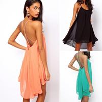 Vestidos  Sexy Women Chiffon Backless Sling Strap Back Club Mini Party Dress sundresses