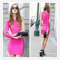 2015 new arrival high quality hot pink long sleeve one shoulder bandage Celebrity dress Party Evening Dresses HL