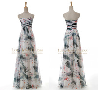2015 Sexy Vestido Sweetheart Criss-Cross Pleated Print Impressionism Chiffon Long Celebrity Party Formal Prom Evening Dresses