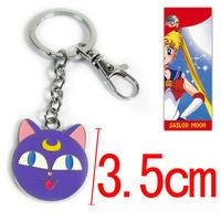 10pcs/lot Anime Cartton Sailor Moon Cat Luna Key Chain Keychains Metal Figure Toy Key Ring Pendants