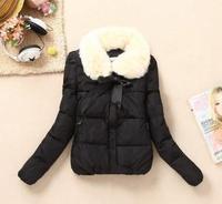 Korean New Fashion Doll Collar Fur Collar Coat Women Fashion Cute Candy Colored Lace Cotton Jacket Free Shipping