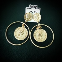 Moco-09 Queen Elyzabeth II Portrait Coin Earrings Fashion Round Earrings Party Wedding Earrings For Woman