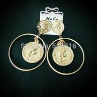 Moco-09 Queen Elyzabeth II Portrait Coin Earrings Fashion Round Earrings Party Wedding Earrings For Woman