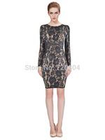2015 New arrival Women's beige and black lace long sleeve Bandage Dress HL Evening Dresses HL dropship