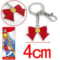 10pcs/lot Anime Cartton Sailor Moon bowknot Key chain Keychains Metal Figure Toy Key Ring Pendants