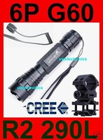UltraFire 501B 6P G60 Tactical Cree R2 led Flashlight QD Picatinny barrel 20mm rail mount