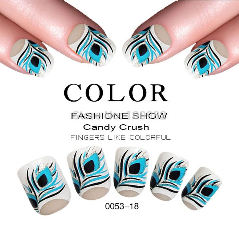 feather false nail art tips 24 pcs colorful design artificial nail art