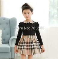 Free shipping!Spring autumn children's clothing wholesale girls dress kids plaid long sleeve dresses 5pcs/lot