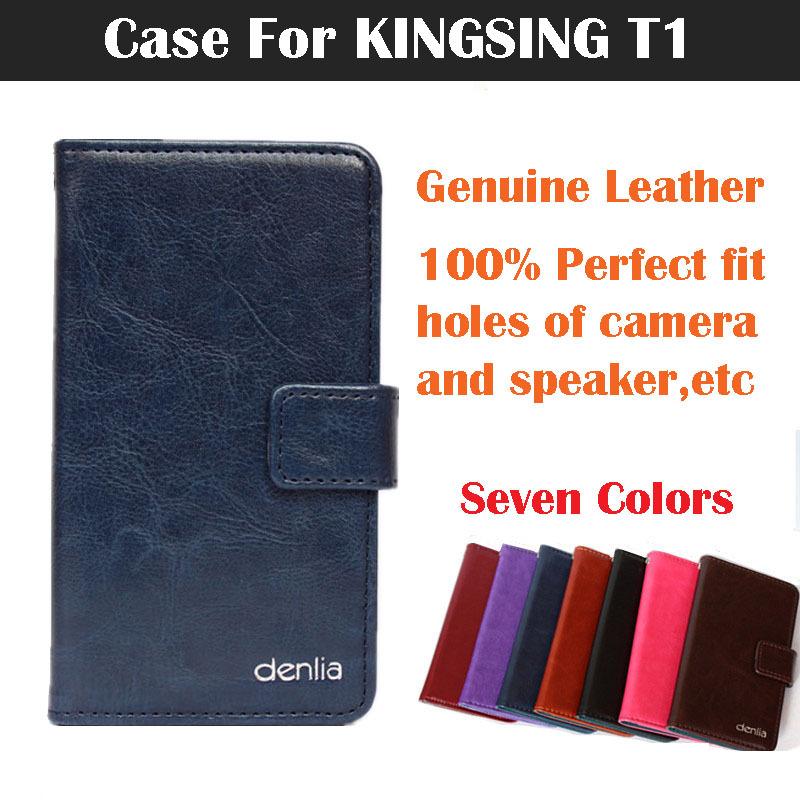 Kingsing T1 чехол , посвященный флип натуральная кожа чехол обложка для KINGSING T1 телефон чехол кожи карты держатель семь цветов original 1650mah battery for kingsing k3
