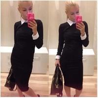 New 2015 women workwear elegant dress , sleeved corset dress Free shipping