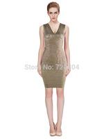 2015 New arrival Women's gold foil V neck Bandage Dress HL Evening Dresses HL dropship