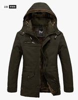 Hot Men's Warm Jackets Parka Outerwear Fur lined Winter thicken Long Coat Hooded