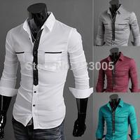 New 2014 Hot Sales High Quality Chiffon Men Shirt Long Sleeve Slim Fit Casual Social Shirt Fashion Mens Shirts 4 Colors M-XXL